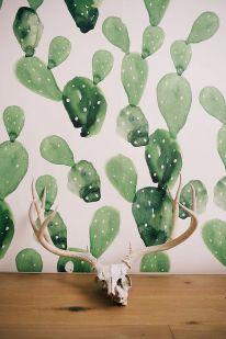 Cactus aquarelle murale grand aquarelle peinture par anewalldecor - etsy.com