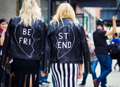 Caroline Vreeland and Shea Marie wear statement skirts with matching custom leather jackets - whowhatwear.co.uk