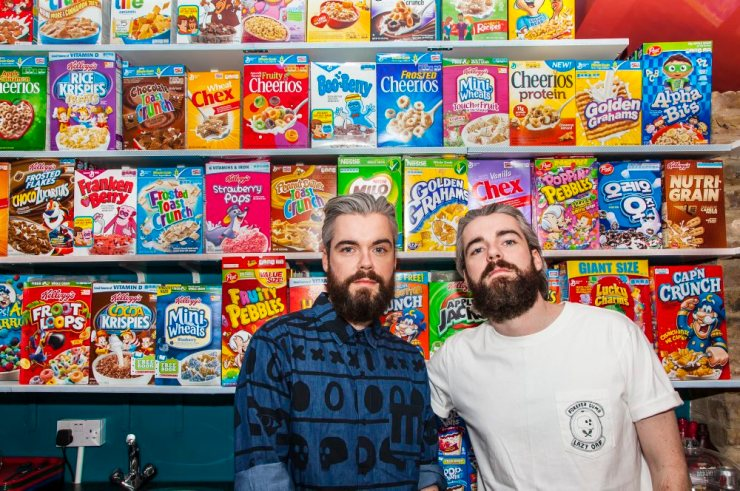 Cereal Killer Café - Gary (left) and Alan Keery at their Cereal Killer cafe in Brick Lane, London. Photograph: Lukas Chodorowicz - theguardian.com