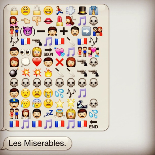 Tumblr Narratives in Emoji - Les Misérables, Victor Hugo - narrativesinemoji.tumblr.com