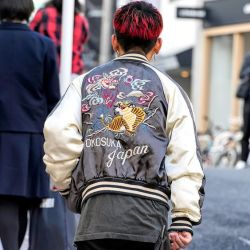 Japanese souvenir jackets on the street in Harajuku today - Instagram @tokyofashion