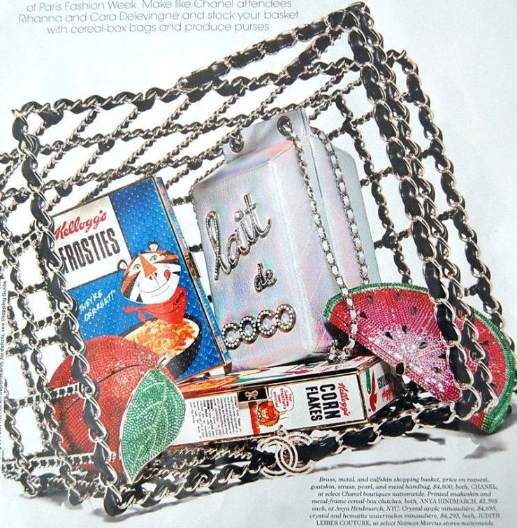 Chanel Calfskin basket Judith Leiber Apple Watermelon Clutch Anya Hindmarch Cereal Box - groupe-mansuy.com