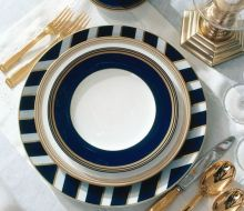 "Gold, white, and navy blue by Ralph Lauren ""Le Grand Hotel"" collection - ralphlaurenhome.com"