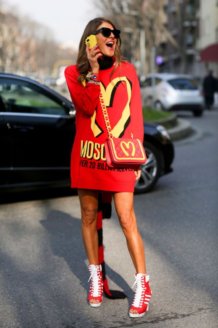 Anna Dello Russo wearing Moschino Mcdo Collection - lexpress.fr