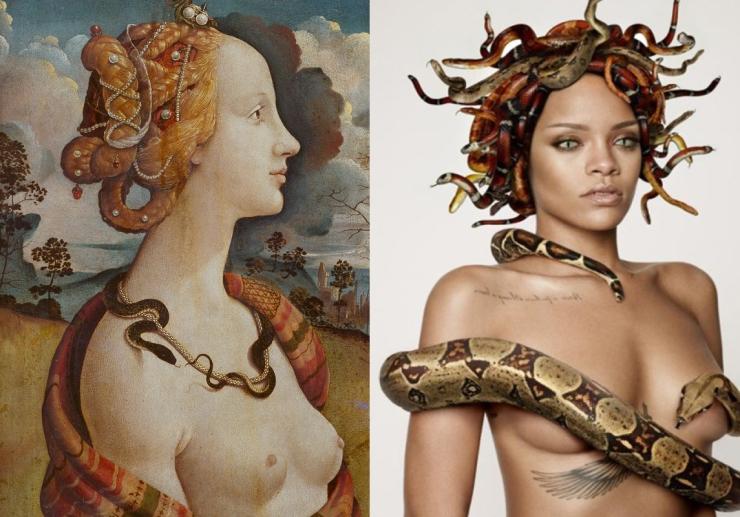 Before Sixteen – Cecilia Azcarate – Cecilia Portrait of Simonetta Vespucci Piero di Cosimo c. 1480 Right- Rihanna for GQ Art Directed by Damien Hirst – b4-16.tumblr.com