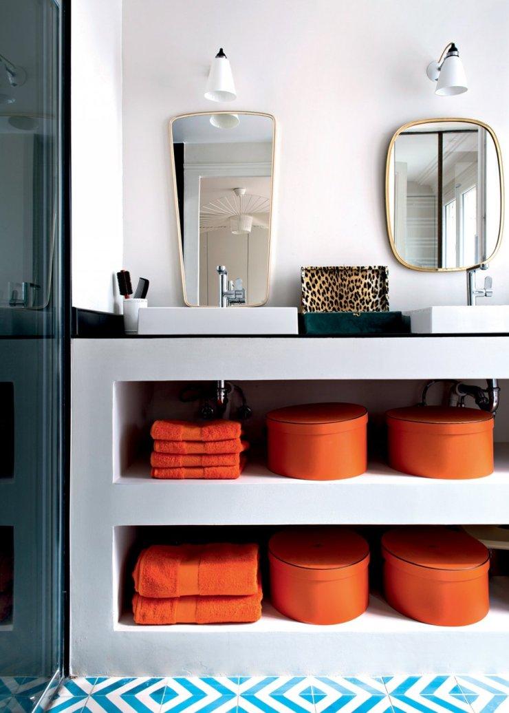Appartement parisien - salle de bain Hermès - pinterest.com