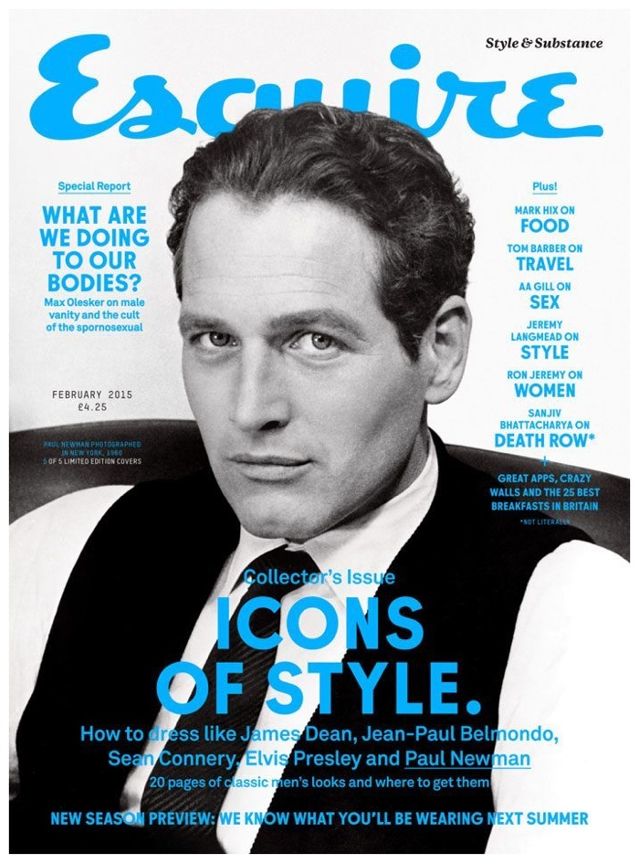 Esquire UK February 2015 - Hollywood style icon covers Paul Newman - eleonoreterzian.com