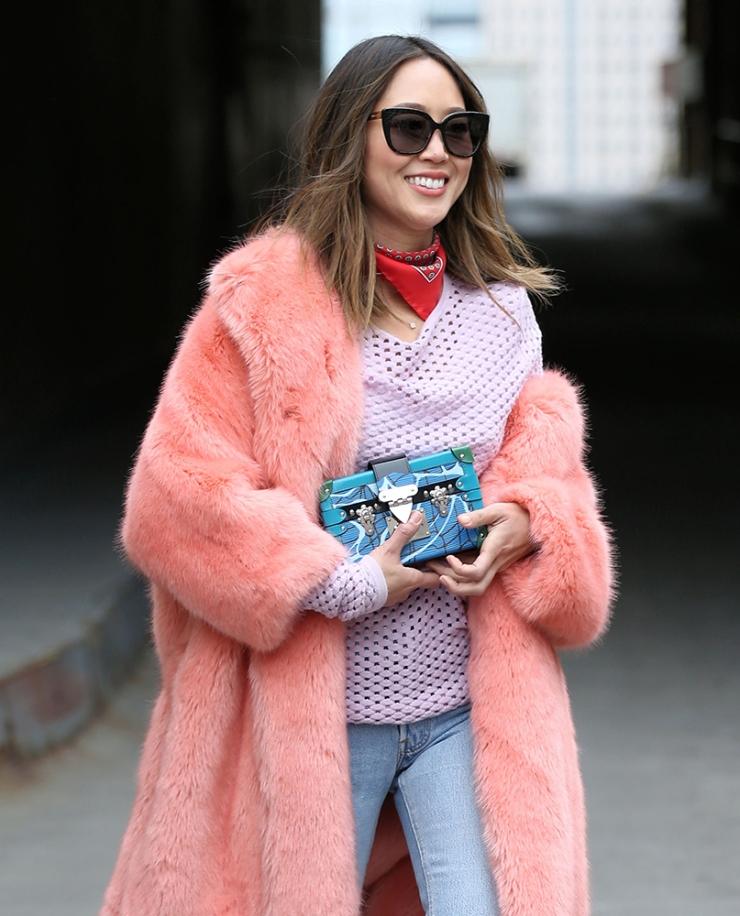 Aimee Song - Louis Vuitton petite malle clutch - pink fur coat - purseblog.com