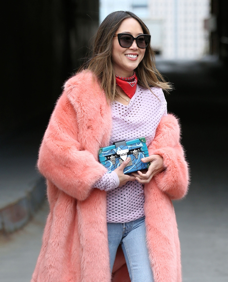 Aimee Song - Louis Vuitton petite malle clutch - pink fur coat - purseblog.com