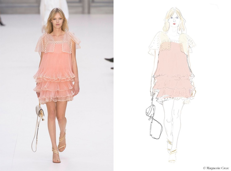 Chloé - PFW SS 17 - Illustration by © Marguerite Creze for eleonoreterzian.com