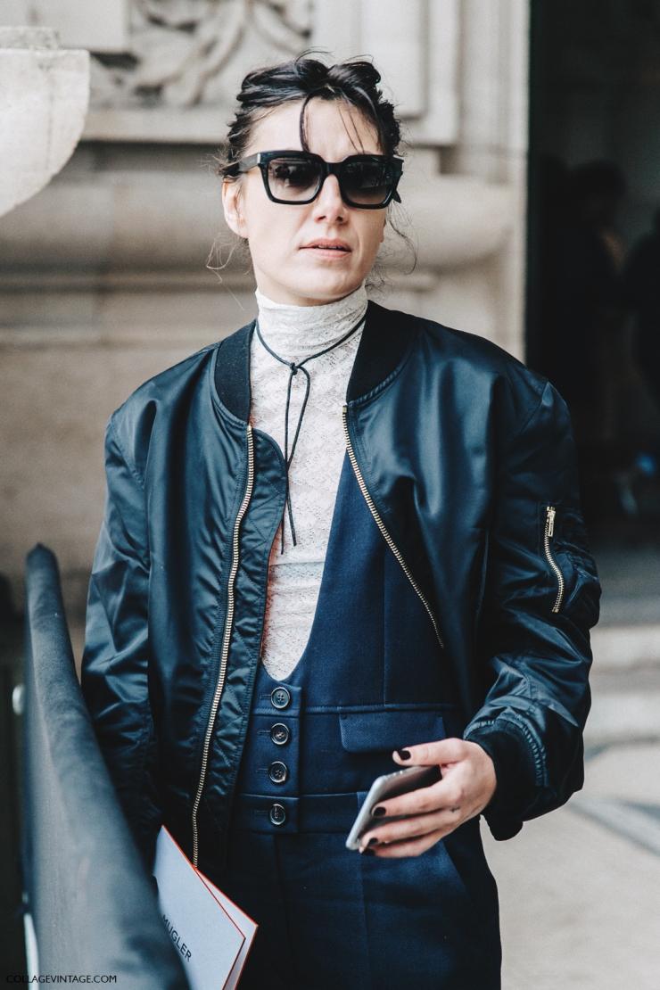 PFW Fall 2016 - street style - collage vintage - Sara Marija - Saric - Bomber - Choker necklace - eleonoreterzian.com