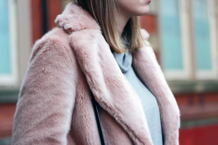 Reiss Alba - Pink faux fur coat - thelovecatsinc.com