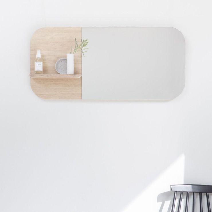Miroir Sight en bois de chêne veiné April and May.com pour Loof