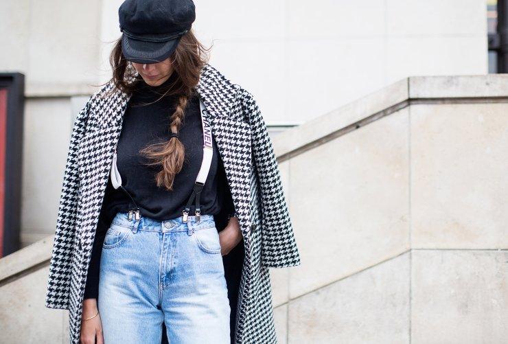 Estelle Pigault in a Topshop coat, Levis jeans, and Chanel suspenders - seevogue.blogspot.fr