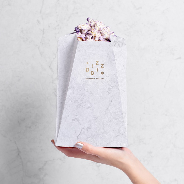 Tatabi Studio - marbled packaging for Diz-Diz microwave popcorn - dezeen.com